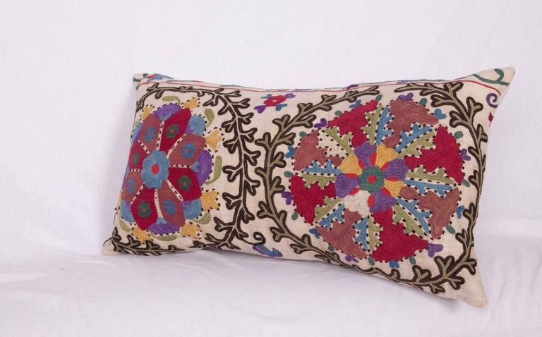 Antique Pillow Made Out of a Late 19th Century, Uzbek Bukhara Suzani For Sale 1