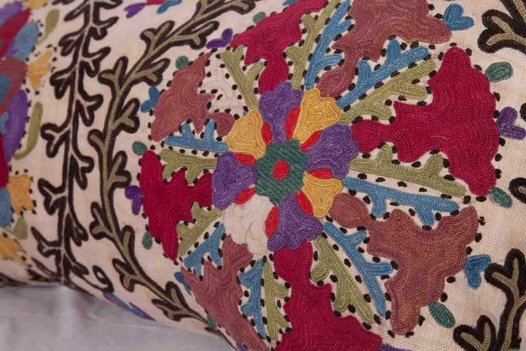 Antique Pillow Made Out of a Late 19th Century, Uzbek Bukhara Suzani For Sale 2