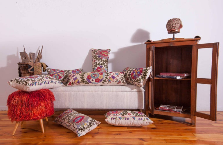 Antique Pillow Made Out of a Late 19th Century, Uzbek Bukhara Suzani For Sale 3