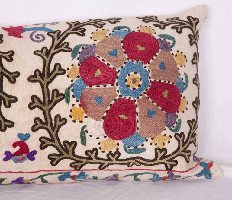 Antique Pillow Made Out of a Late 19th Century, Uzbek Bukhara Suzani In Good Condition For Sale In Istanbul, TR