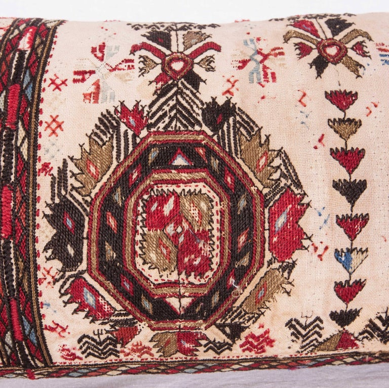 Embroidered Long Antique Pillow Case Made from a 19th Century Macedonian Greek Embroidery For Sale