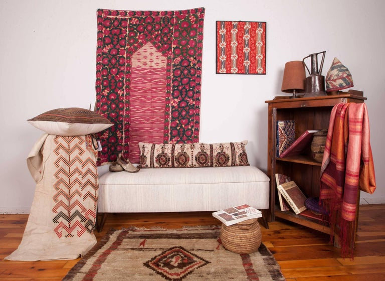 Cotton Long Antique Pillow Case Made from a 19th Century Macedonian Greek Embroidery For Sale