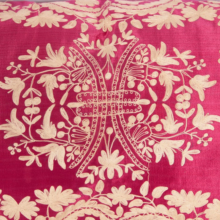 Suzani Antique Ottoman Turkish Embroidered silk pillow case For Sale
