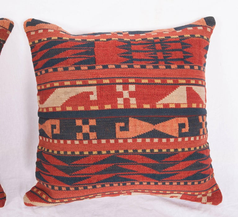 Hand-Woven Antique Pillow Cases Made from a Late 19th Century Uzbek Gudjeri Kilim For Sale