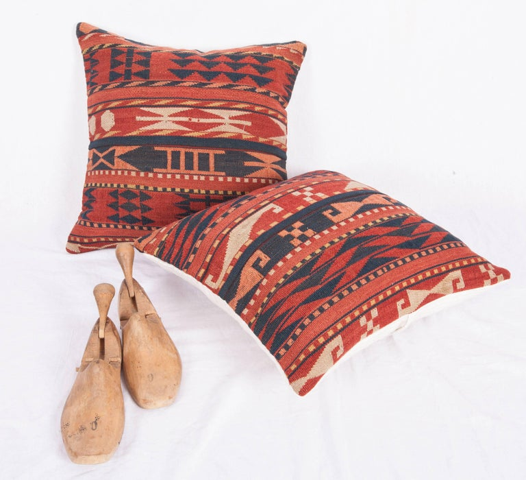 Antique Pillow Cases Made from a Late 19th Century Uzbek Gudjeri Kilim In Good Condition For Sale In Istanbul, TR