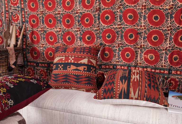 Wool Antique Pillow Cases Made from a Late 19th Century Uzbek Gudjeri Kilim For Sale