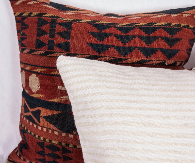 Antique Pillow Cases Made from a Late 19th Century Uzbek Gudjeri Kilim For Sale 1