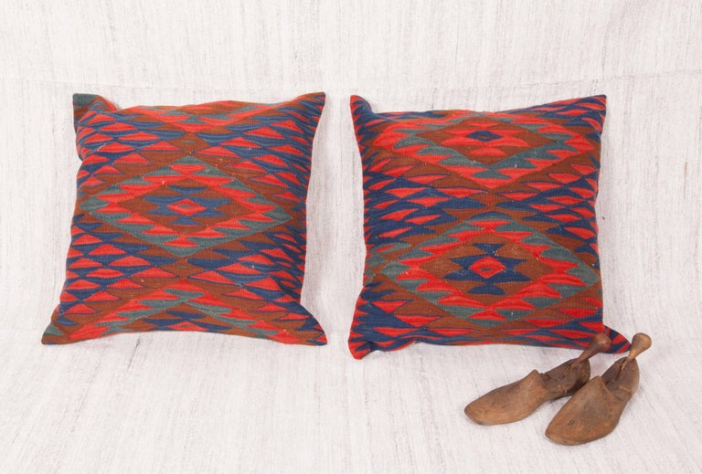Balkan Antique Kilim Pillow Cases Fashioned from Late 19th Century Sharkoy Kilim For Sale