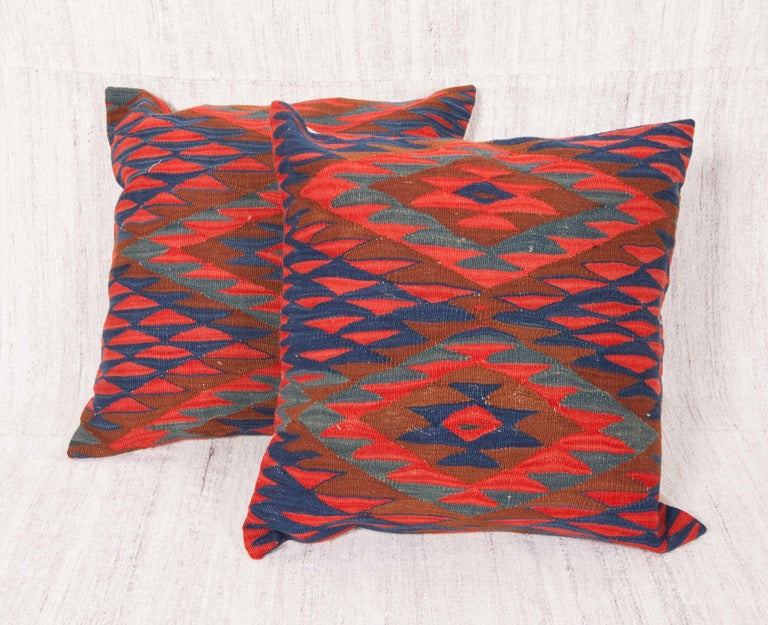 Hand-Woven Antique Kilim Pillow Cases Fashioned from Late 19th Century Sharkoy Kilim For Sale