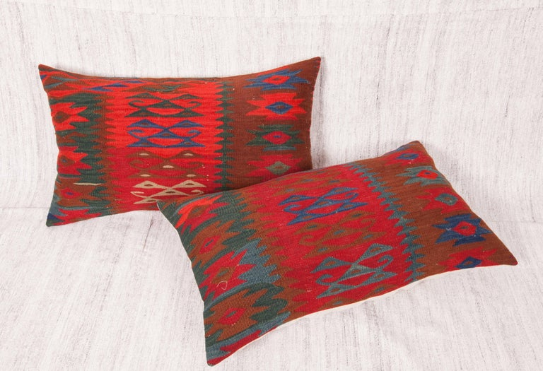 Balkan Antique Kilim Pillow Cases Fashioned from a late 19th C. Sharkoy Kilim For Sale