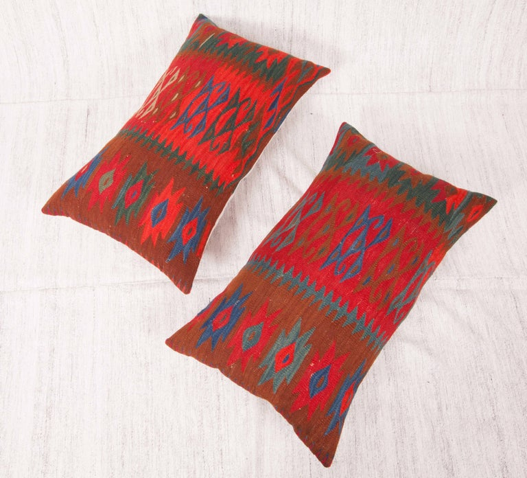 Antique Kilim Pillow Cases Fashioned from a late 19th C. Sharkoy Kilim In Good Condition For Sale In Istanbul, TR
