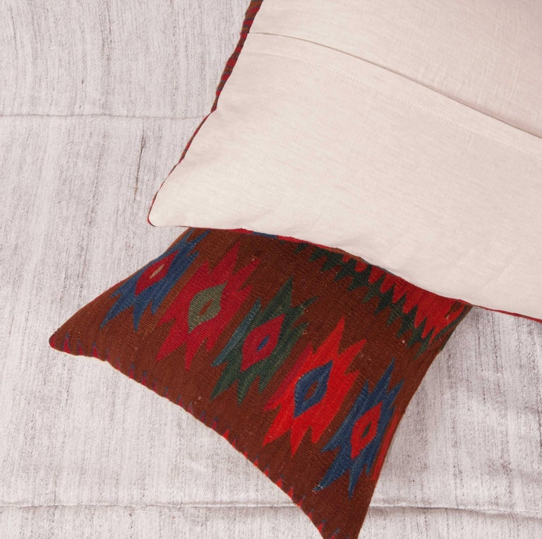 19th Century Antique Kilim Pillow Cases Fashioned from a late 19th C. Sharkoy Kilim For Sale
