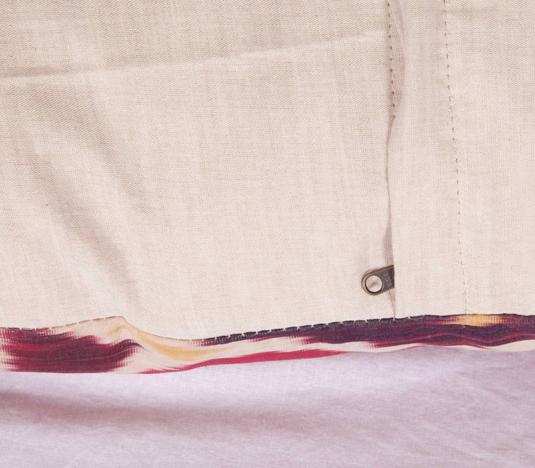 Silk Antique Ikat Pillow Case Fashioned from a 19th Century Uzbek Ikat For Sale