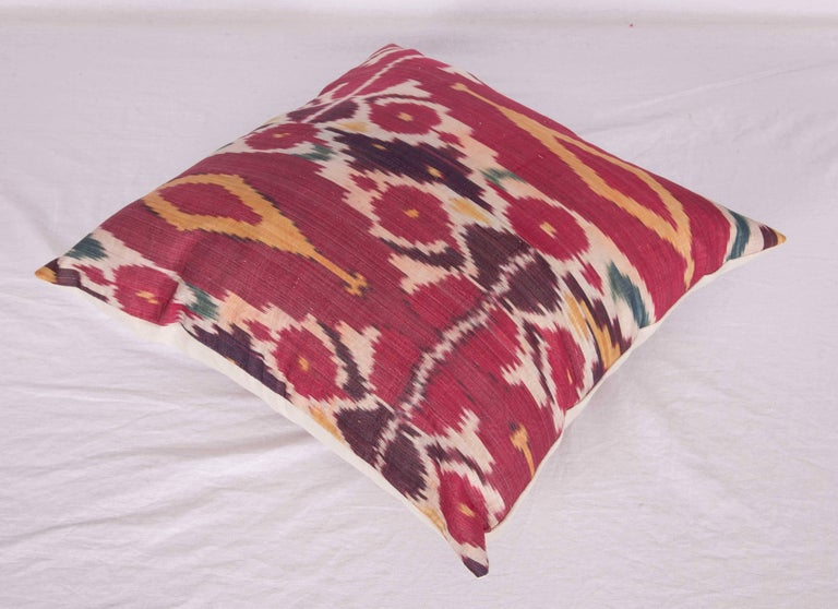 Antique Ikat Pillow Case Fashioned from a 19th Century Uzbek Ikat For Sale 1