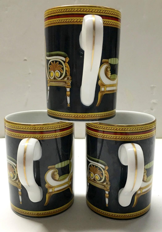 Set Of Three Gucci Porcelain Italian Chair Mugs