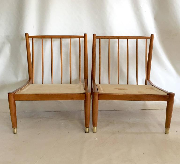 Mid Century Modern Swedish Pair Of Outstanding Beech Wood Spindle Back  Slipper Chairs Attributed To