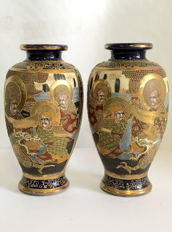 Pair Of Japanese Cobalr Satsuma Moriage Vase Signed At 1stdibs