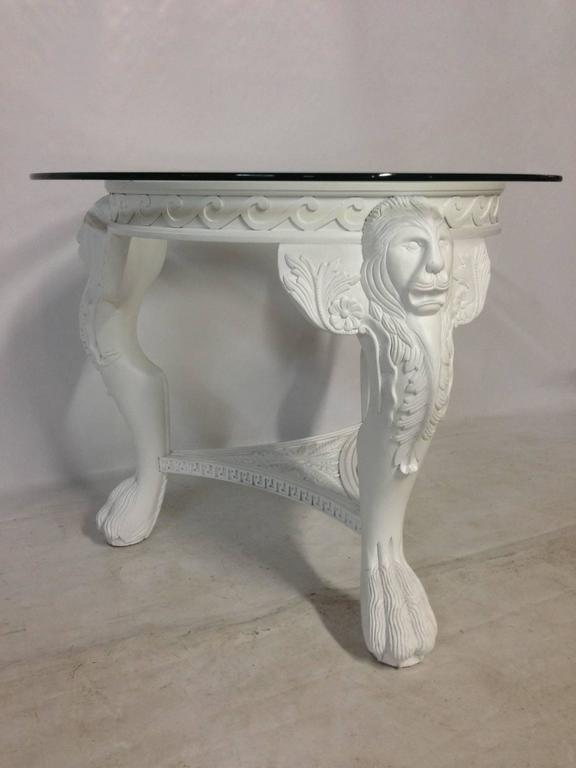 Vintage Carved And Painted Lions Head Three Leg Table At