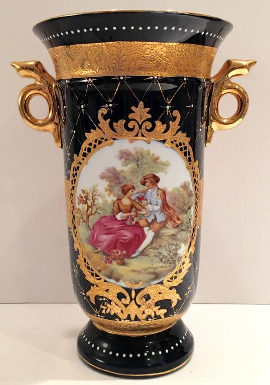 Limoges Cobalt French Sevres Style 22 Karat Gold Vase At