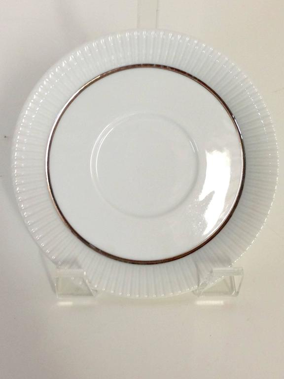 1960s German Porcelain And Platinum Dinnerware Set Of 24