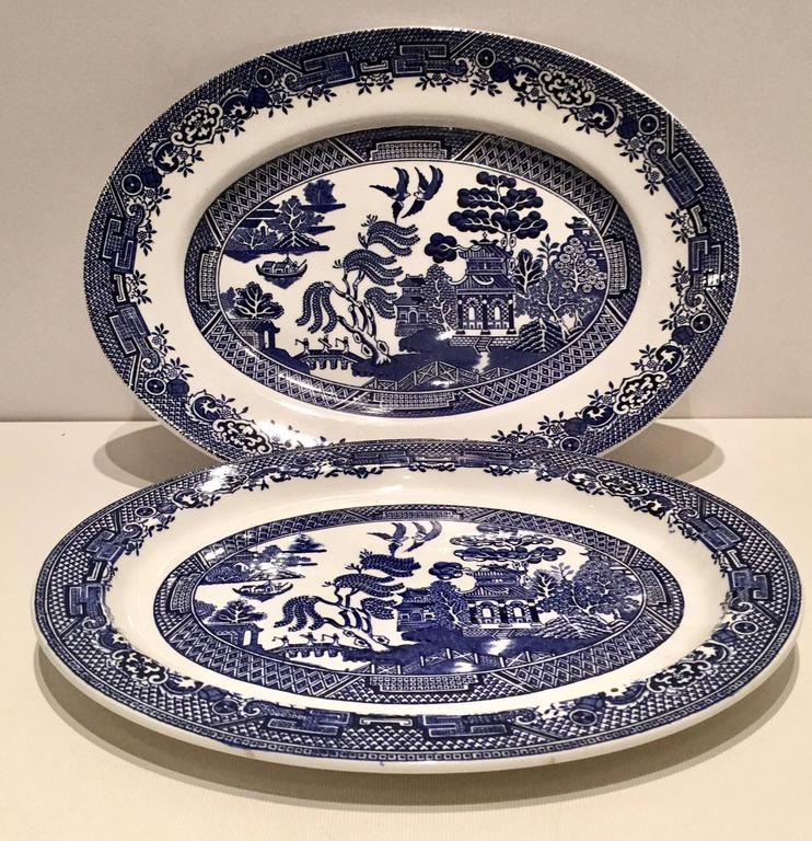 Mid Century English Blue And White Quot Willow Quot Dinnerware Set