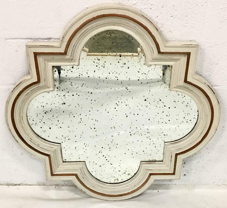 Vintage Italian Carved And Painted Wood With Raised Applied Detail Quatrefoil Antiqued Glass Mirror