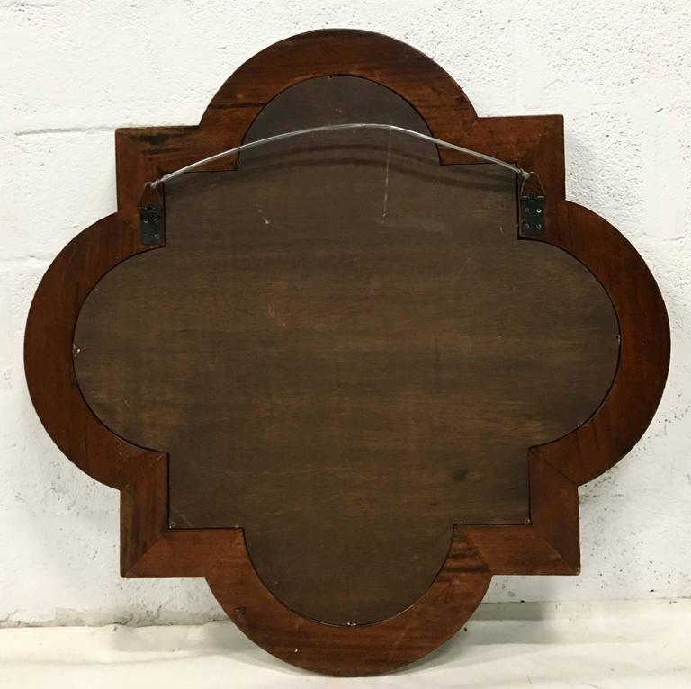 20th Century Italian Carved Wood Painted Quatrefoil Mirror