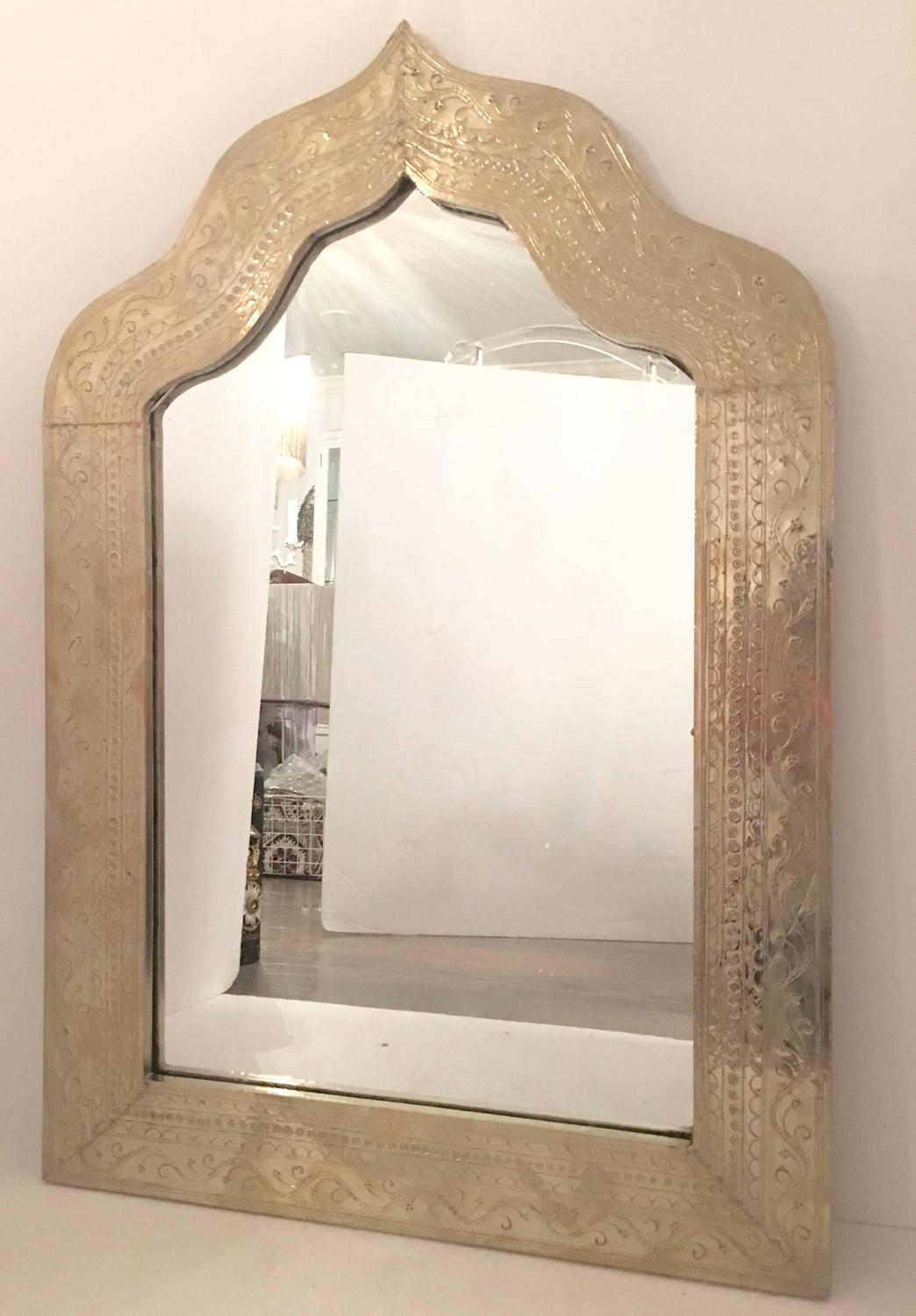 Pair of silver plate etched arabesque framed mirror 39 s for for Silver framed mirrors on sale