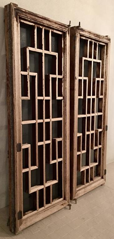 Antique Pair Of Chinese Carved Mahogany And Smoke Glass Windows In Excellent Condition For Sale