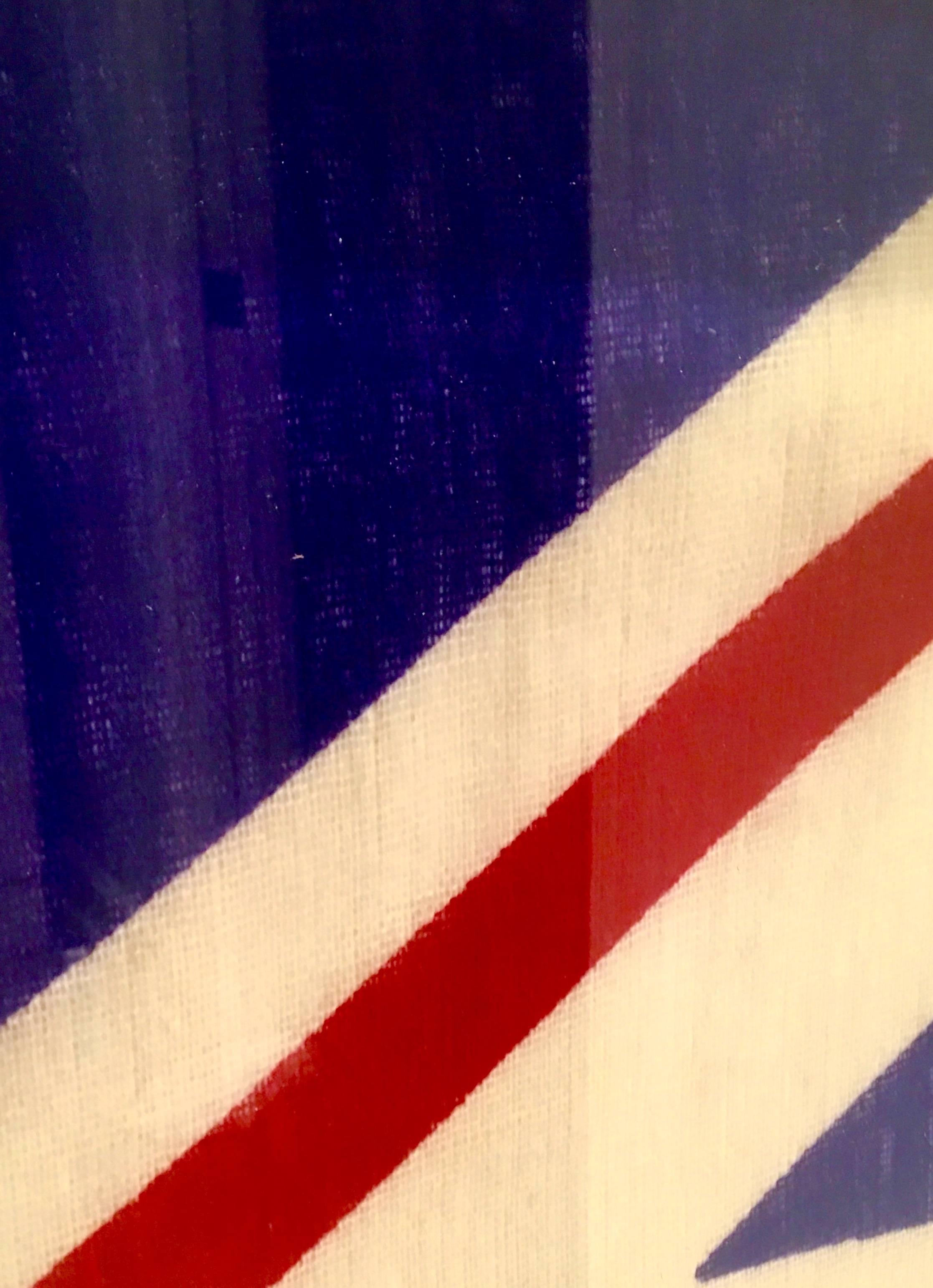 Vintage Union Jack Britsh Flag Silver Leaf Wood Frame at 1stdibs