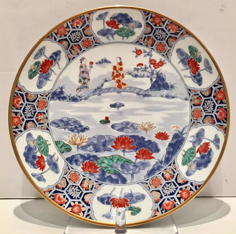 Midcentury unique set of Japanese porcelain with a gold rim geisha girl and cherry blossom motif & Vintage Japanese Porcelain Geisha Girl Plates Set of Six at 1stdibs