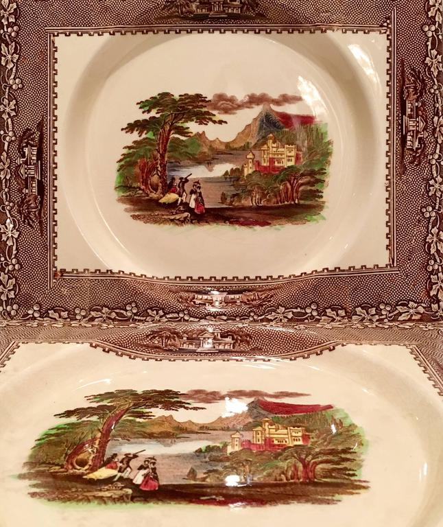 English Mid-20th Century Royal Staffordshire Pair Of Transferware Square Plates For Sale