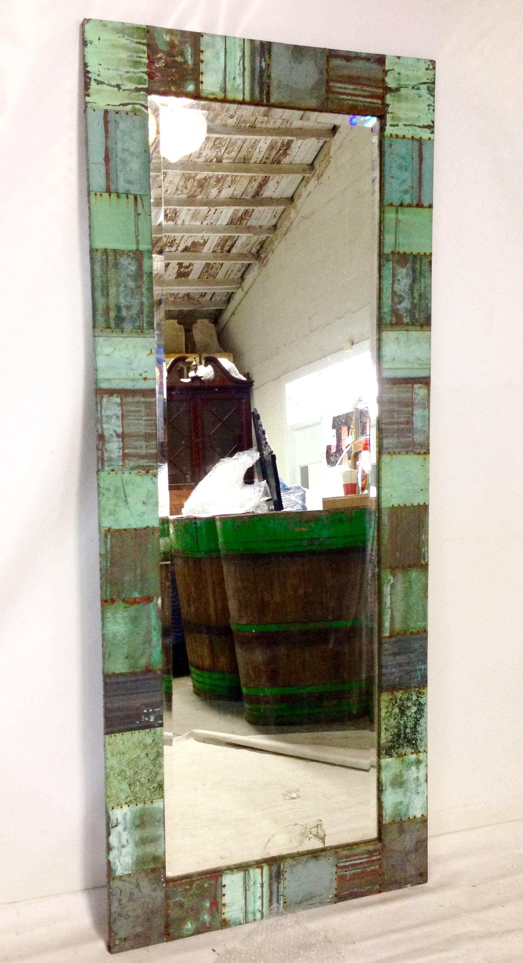 Antique Copper Roof Tile Patchwork Full Length Mirror For Sale at ...