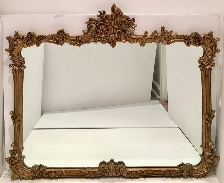 19th Century Highly Carved Gold Gilt Wood And Composition Ornament Art Nouveau Framed Mirror This