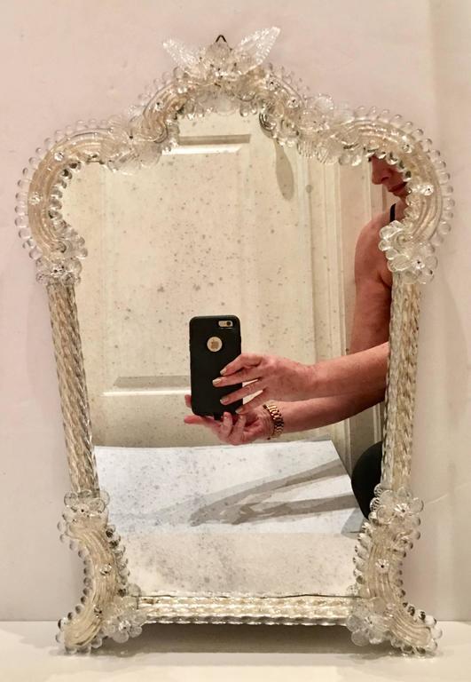 Italian Venetian Murano Glass Gold Dust Framed Antique Mirror At 1stdibs