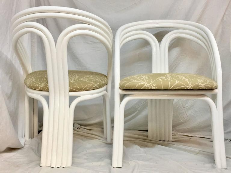 Art Deco Set Of Four Ficks Reed Style White Lacquered Rattan Upholstered  Chairs For Sale