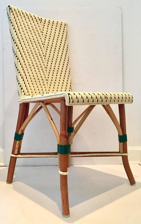Charmant Italian Made Vintage Woven Vinyl And Rattan Bistro Chair. Hunter Green And  Cream Colored Plastic