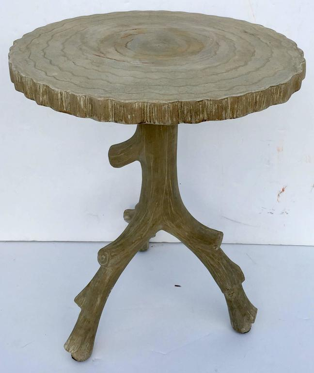 Organic Form Faux Bois Concrete Side Table At 1stdibs