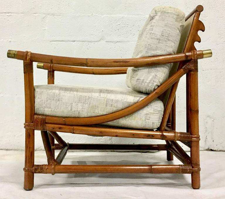 1940u0027S Ficks Reed Campaign Style Rattan Reed U0026 Brass Recliner Arm Chair In  Excellent Condition For