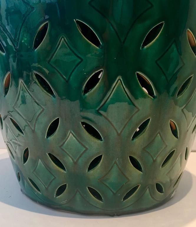 Pair Of Ceramic Glaze Emerald Green Garden Stools At 1stdibs