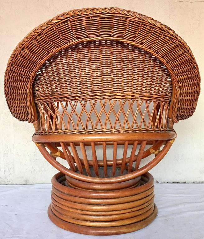 1950s paul frankl style bent rattan reed and wicker swivel for Wicker reed