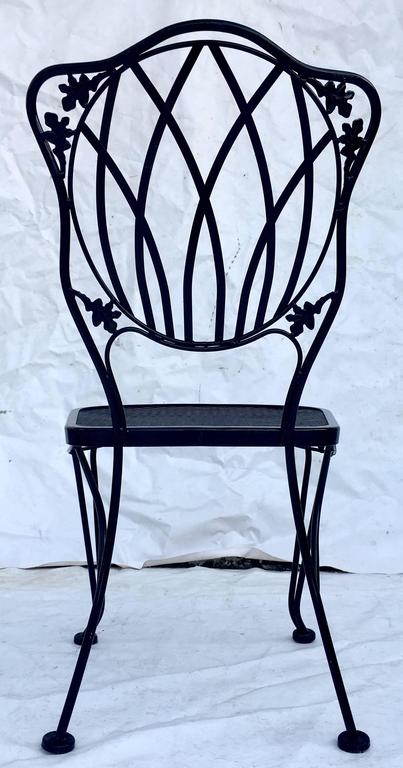 1950s Set Of Five Wrought Iron Mesh Chairs And Cushions By Woodard For Sale At 1stdibs