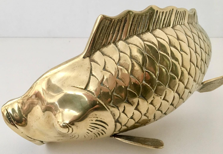 Mid-Century Large Solid Brass Koi Fish Vase Sculpture at 1stdibs