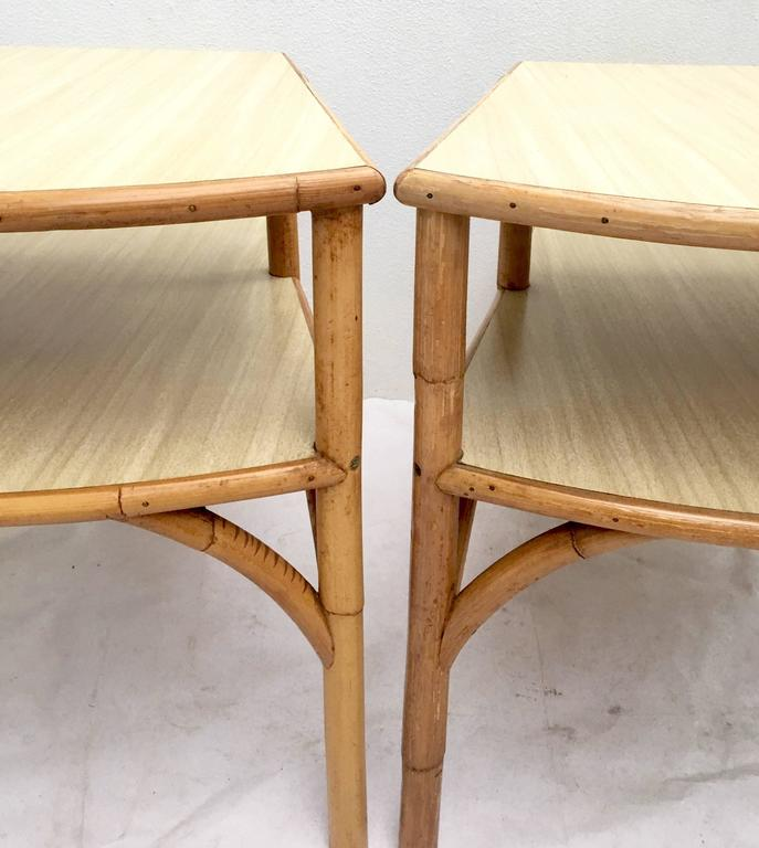 Mid Century Rattan And Laminate Top Two Tier Side Table