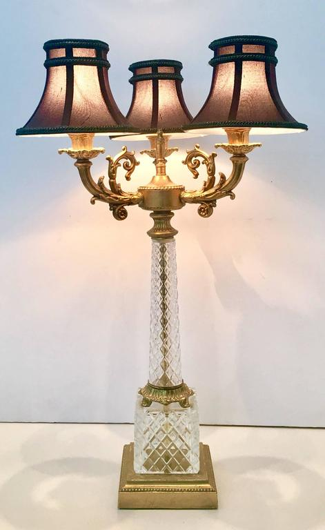 Pair Of French Cut Crystal And Dor 233 Bronze Three Light