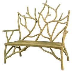 Faux Bois Concrete High Back Twig Bench