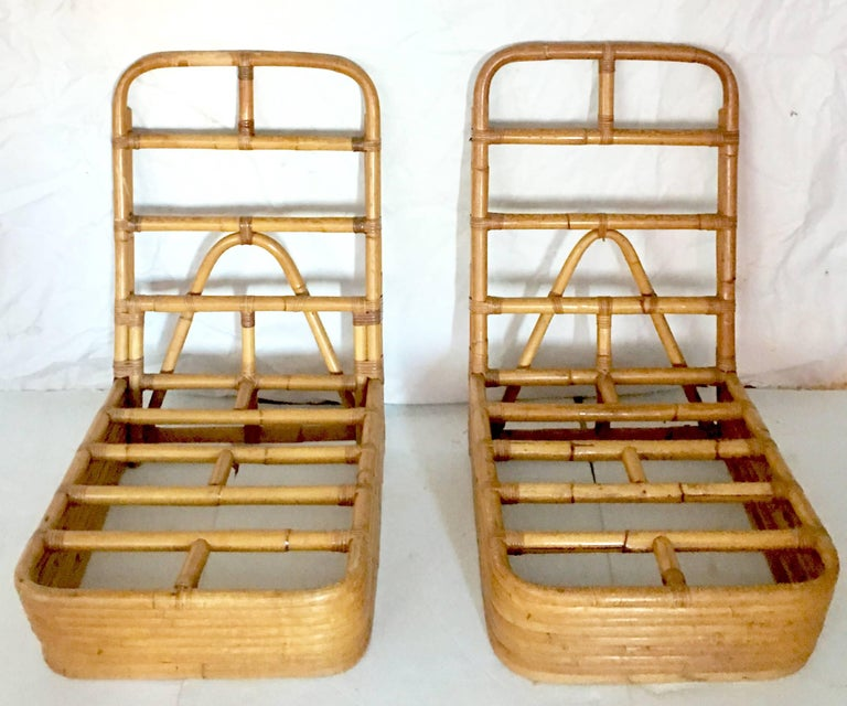 Paul Frankl Designed Rattan Reed Stack Slipper Chair Pair
