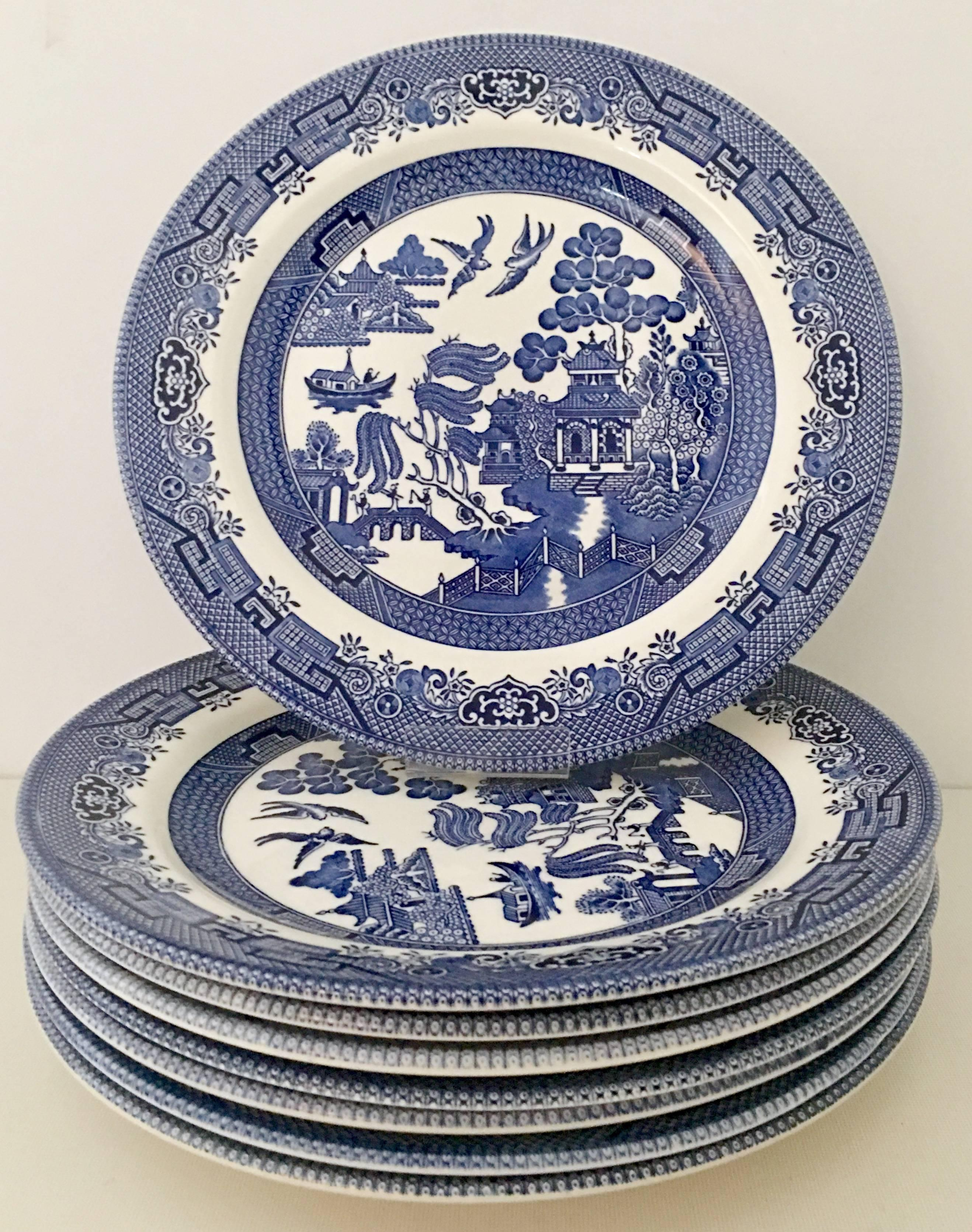 Vintage Staffordshire England \u0026quot;Blue Willow\u0026quot; dinnerware set of seventeen pieces. & Vintage Staffordshire England Ceramic Dinnerware \