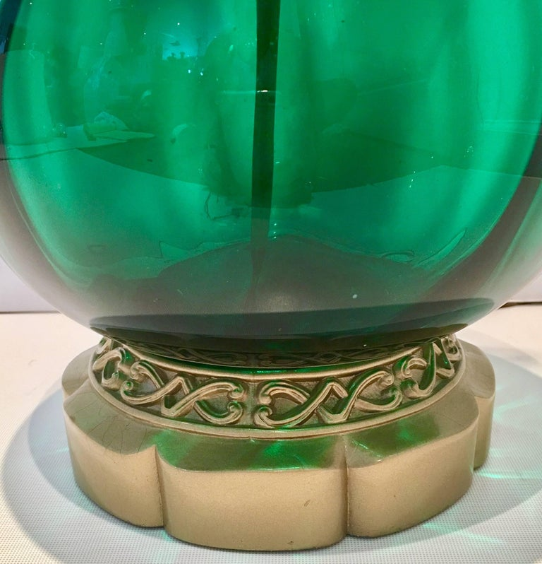 Blenko Glass Optic Emerald Green Lamp 8