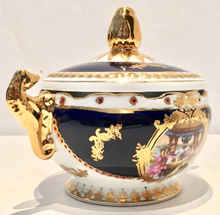 Hand Painted French Style Lidded Bowl